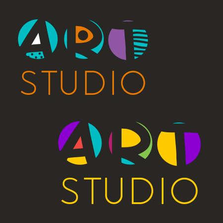 creative arts: design template for art studio, gallery, school of the arts. Creative art icon set.