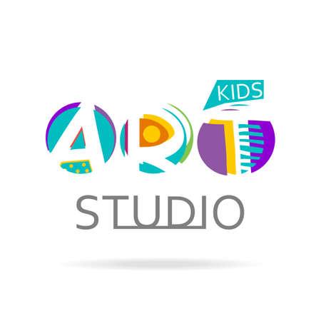 creative arts: design template for kids art studio, gallery, school of the arts. Creative art icon isolated on white. Illustration