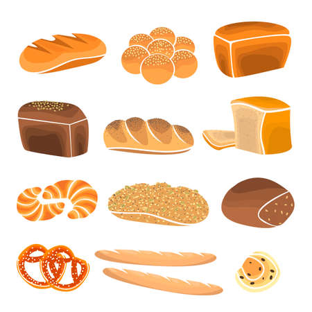 fresh bread: Bread product set. Bakery shop elements and bakery showcase. Bakery items in flat style. Illustration