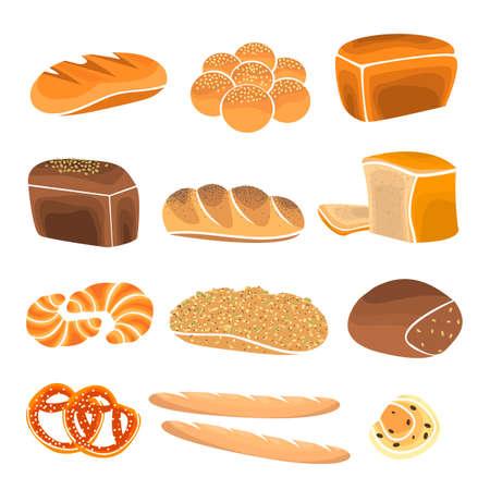 comiendo pan: establece producto de pan. elementos de panadería y pastelería escaparate. artículos de panadería en estilo plano.