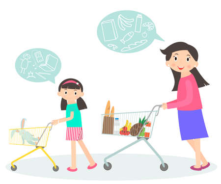 mom and daughter: Family shopping together. Mom and daughter with supermarket trolley. Shopping with kid. People in shopping mall, supermarket, grocery shop, icons. Lifestyle situations icons.