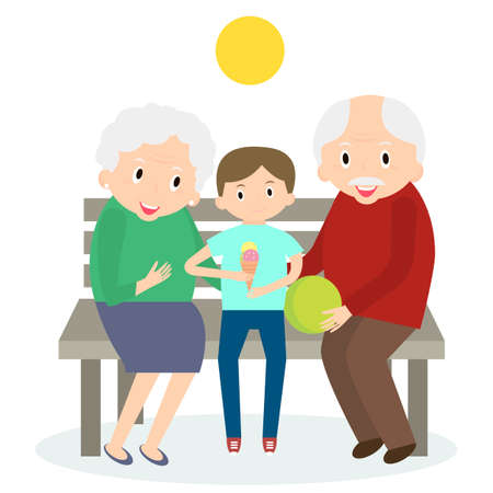 older woman smiling: Senior people happy leisure time with grandson. Happy Grandparents with little grandson.