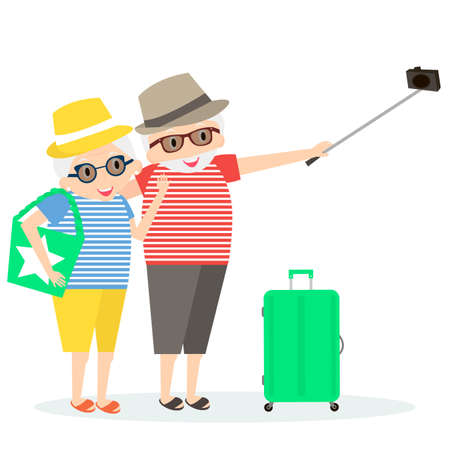 people traveling: Seniors happy traveling. Grandmother and grandfather on trip. Oldest people with Selfie stick and suitcase on trip.