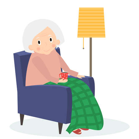leisure time: Grandmother sitting in armchair. Old woman leisure time. Grandma reading drink tea. Cute senior woman at home.