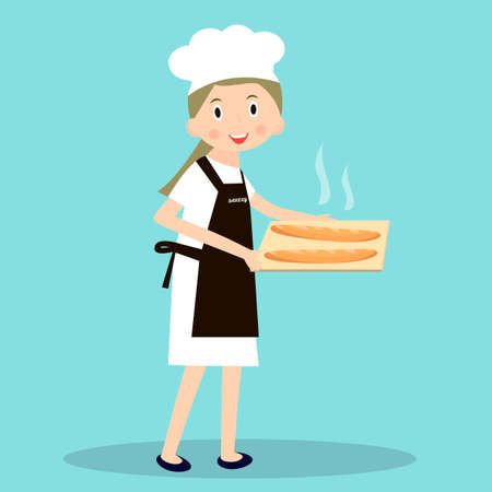 miller: Cooking bread miller chef. Professions miller. Baker with hot baguettes.