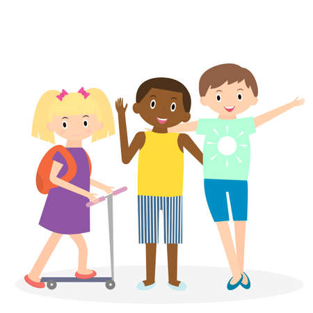 leisure time: Children friends. Three friends leisure time together. Kids isolated. Illustration