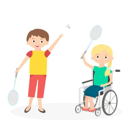 Gehandicapte jongen met een vriend. Gehandicapt kind in een rolstoel met vriend op wit wordt geïsoleerd. Leerzorg meisje speelt met vriendin. Stock Illustratie