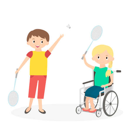 Disabled kid with friend. Handicapped child in a wheelchair with friend isolated on white. Special needs girl playing with friend.