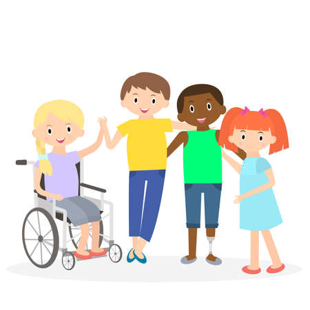 needs: Disabled kids with friends. Handicapped children isolated on white. Special needs children with friends. Illustration