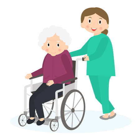 special needs: Disabled old woman. Handicapped senior woman in a wheelchair. Special needs woman. Caring for seniors, helping moving around. Elderly care. Illustration