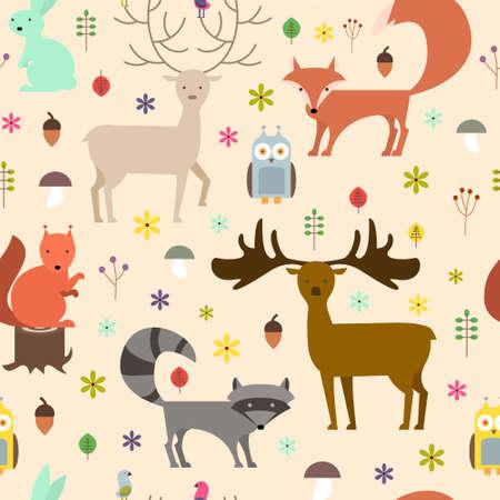 Dieren in het bos naadloze achtergrond. Vlakke stijl dieren textuur.