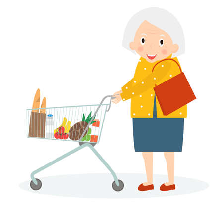 leisure time: Grandmother is Shopping. Old woman leisure time. Grandma in supermarket with trolley. Cute senior woman on shopping. Illustration