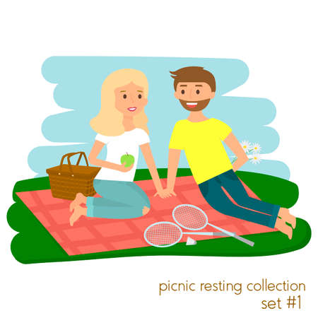 lifestyle outdoors: Young couple on picnic together. Family picnic vacation. Summer happy lifestyle park outdoors.
