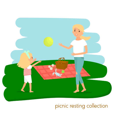 family picnic: Family picnic resting. Mother with daughter on picnic. Summer vacation.