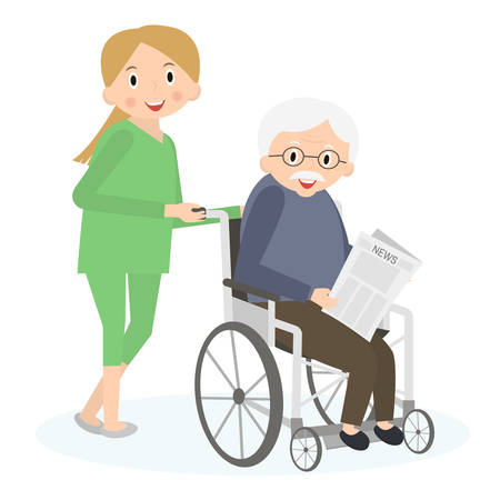 special needs: Handicapped senior man in a wheelchair. Special needs man. Caring for seniors, helping moving around. Elderly care.