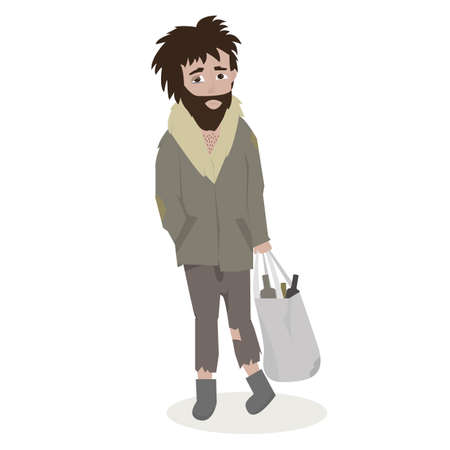 Homeless. Bearded Man in dirty rags. Illustration