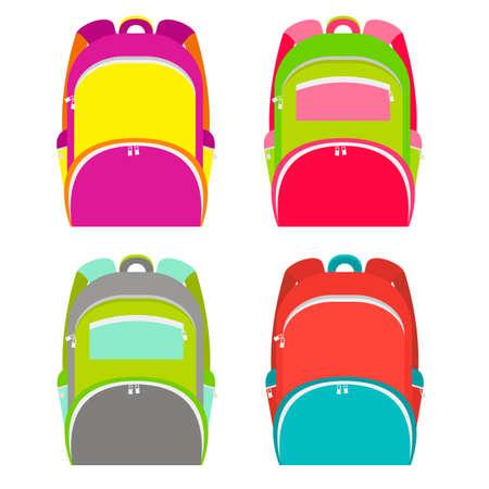 Schulrucksäcke Sammlung isoliert auf weiß. Schulrucksack in 4 verschiedenen Versionen. Illustration Vektorgrafik