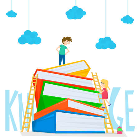 Kids climbing on stairs to the large stack of books. Illustration of kids education. illustration Illustration