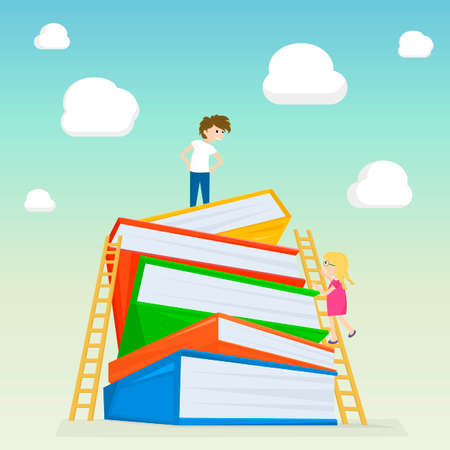 book binding: Kids climbing on stairs to the large stack of books. Illustration of kids education. illustration Illustration