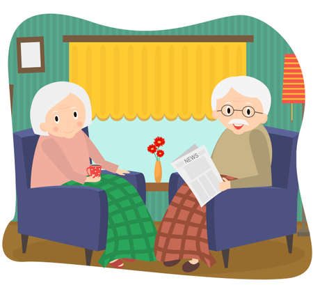 happy old couple: Happy old couple together. Seniors couple sits in a chair at home. Illustration.