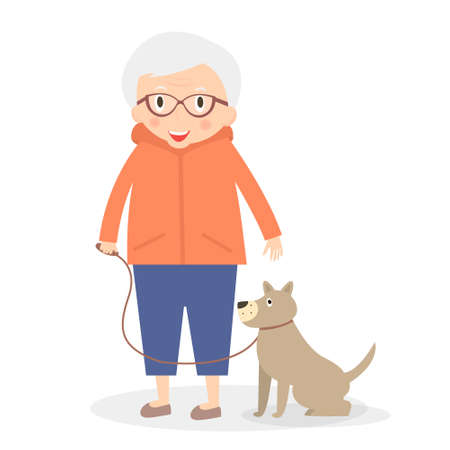 retired: Cute senior woman with dog on the walk. Grandmother in sport clothes. Vector illustration. Illustration