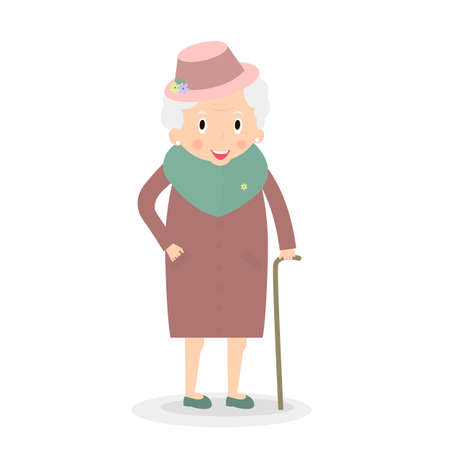 Cute Old woman with walking stick. Grandmother in hat. Senior lady on walk. Vector, illustration