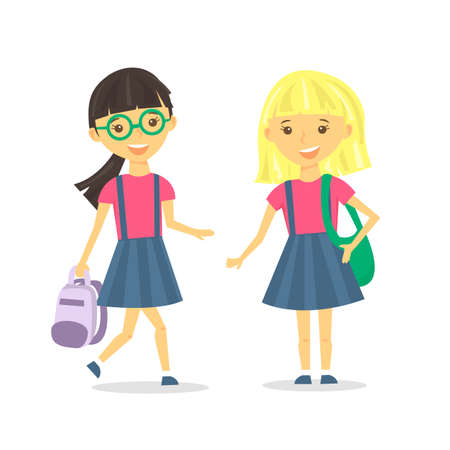 Cute school girls with school backpack. Vector Illustration