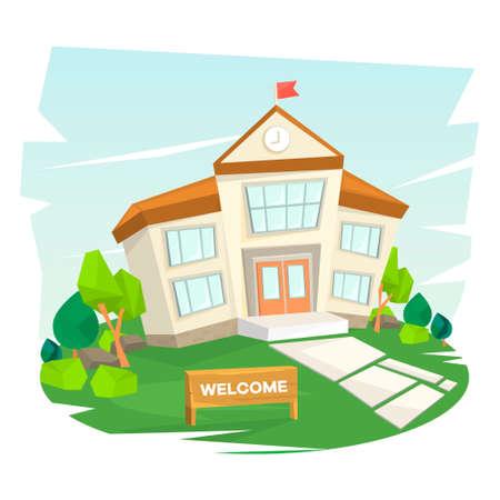 School building. Welcome to school. Vector illustration Illustration