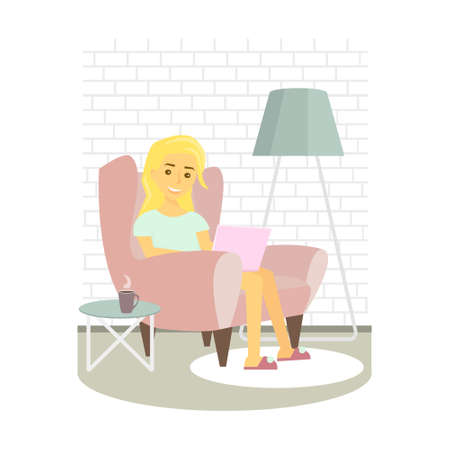laptop home: Young woman relaxing on armchair and browsing Internet . Girl with laptop at home. Vector illustration Illustration