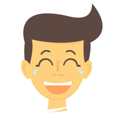 Laughing cartoon boy. Happy boy face icon. Laughing boy isolated. Vector Illustration Illustration