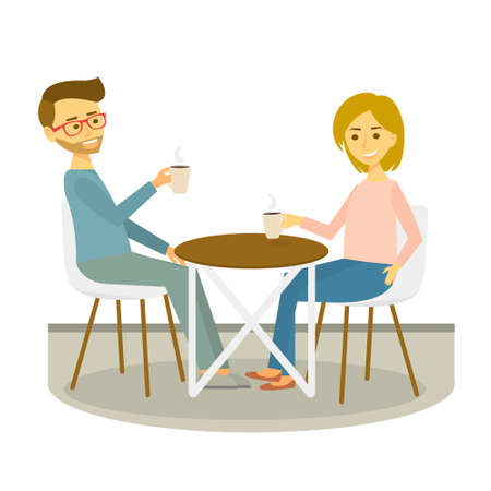 Young couple sits in cafe and drinks coffee. Coffee break. Vector Illustration.