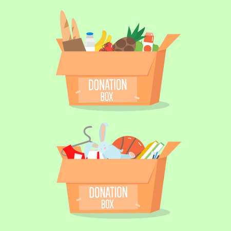 Donation boxes set. Box with different type of donation isolated. Vector Illustration. Vettoriali