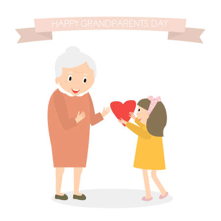 Granddaughter gives heart to grandmother. Happy grandparents day greeting background. Vector Illustration Illustration