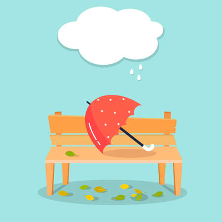 Autumn illustration. Umbrella on bench. Autumn vector design