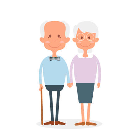 retirement age: Happy old couple together. Cute Seniors couple holding hands. Happy grandparents day. Illustration of happy retirement