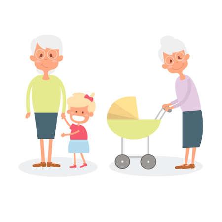 grandchildren: Happy grandmother with grandchildren. Cute Senior woman with granddaughter. Illustration of happy retirement grandparents