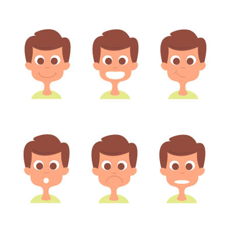 Man face with emotions set. Man emotion icons isolated on white. Man avatars collection
