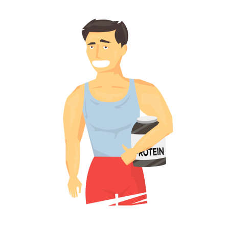 Strong sportsman holding sports nutrition. illustration