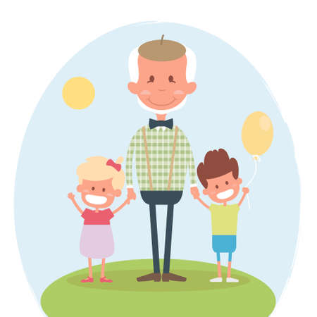 leisure time: Senior people happy leisure time with granddaughter. Happy Grandfather with little granddaughter and grandson. illustration Illustration