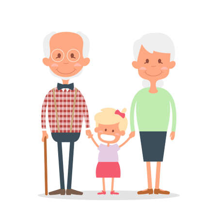 grizzled: Senior people happy leisure time with granddaughter. Happy Grandparents with little granddaughter. illustration.