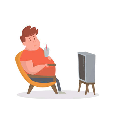 paunch: Fat man sitting on the couch and watching TV. Illustration.