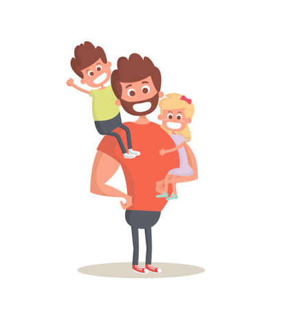 child care: hero dad concept. Strong Dad holding his two children. Flat style icon. Illustration