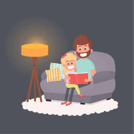 storybook: Father read a storybook to his daughter at night. Dad with kid on a couch together. Cute illustration of parenthood. Illustration