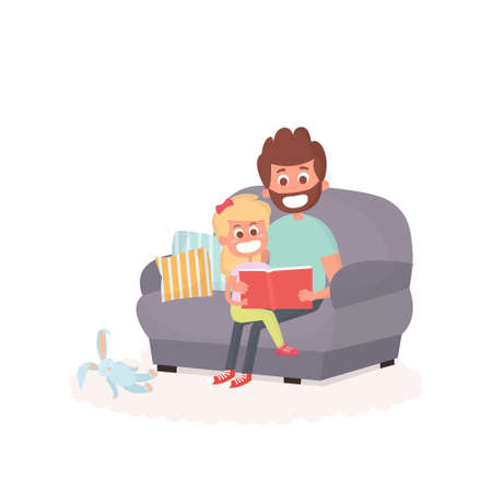storybook: Father read a storybook to his daughter on a couch. Dad with kid on a couch together. Cute illustration of parenthood.