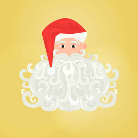 Santa Claus icon with curly beard isolated on yellow background Illustration