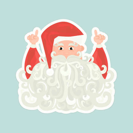 Santa Claus with curly beard pointing up isolated on blue background