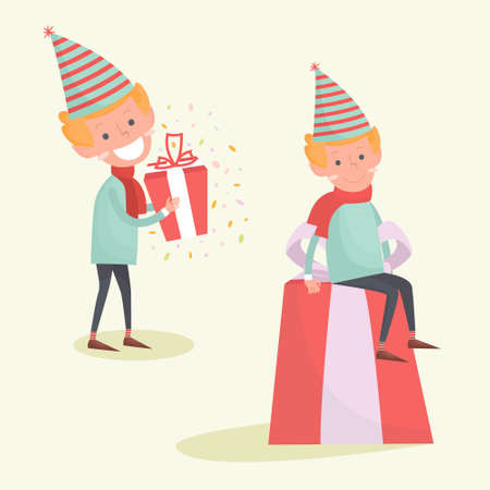 Noël Elf est assis sur un gros cadeau. Illustration de Noël d'un elfe souriant mignon isolé sur blanc. Caractère de vacances Banque d'images - 64991157