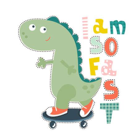 Dinosaur character design for baby fashion. Ts-hirt kids vector print Ilustração