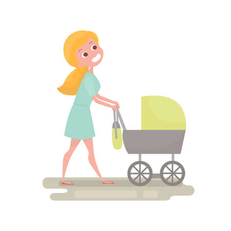 mammy: Mom pushing her baby in a stroller . Young woman with little baby on the walk. Mother character isolated. Vector Illustration Baby care concept. Illustration