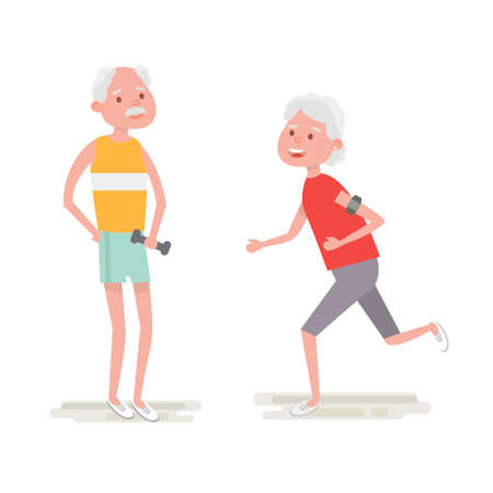 armband: Senior man make exercise with dumbbells. Elderly woman run with armband for jogging. Adult people sport activities. Vector Illustration